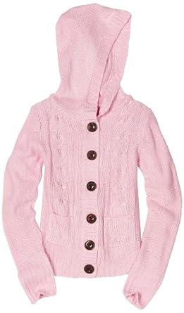 Pink Angel Big Girls' Hood Cardigan Sweater, Pink, Large