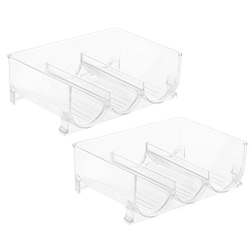 InterDesign Stackable Wine Storage Rack for Refrigerator, Kitchen Countertops - Set of 2, Holds 3 Bottles, Clear (Refrigerator Design compare prices)