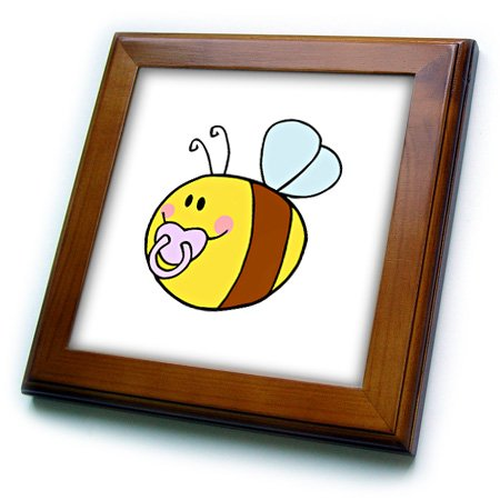 Ft_175736_1 Susans Zoo Crew Baby Kid Designs - Cute Bee With Pacifier In Mouth - Framed Tiles - 8X8 Framed Tile front-275542