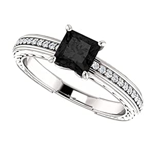 14K White Gold Princess Cut Black and White Diamond Engagement Ring