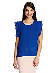 Kimyra Front Pleat Basic Top in Blue