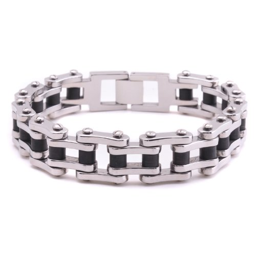 E2E Stunning Men's Stainless Steel Bicycle Chain Style Link Bracelet Silver Black