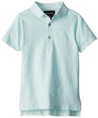 Calvin Klein Little Boys' Ck Short Sleeve Trim Fit Jersey Polo, Dewpthtr, Medium