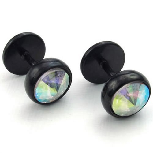 Konov Jewelry Mens Cubic Zirconia Stainless Steel Stud Earrings, Black
