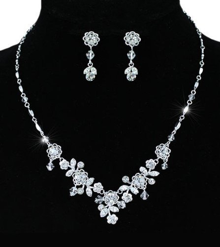 Vintage Crystal Beaded Sparkling Wedding Bridal Jewellery Floral Earrings Necklace Set with PreciousBags Dust Bag