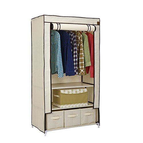 vonhaus-canvas-effect-wardrobe-clothes-cupboard-hanging-rail-storage-with-2-shelves-3-drawers-beige-