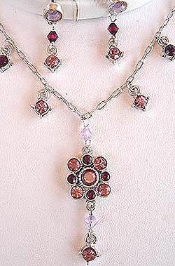 Amethyst Purple Flower Austrian Crystals Necklace Earrings Set