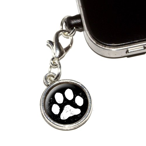 Graphics And More Paw Print Distressed Black White Anti-Dust Plug Universal Fit 3.5Mm Earphone Headset Jack Charm For Mobile Phones - 1 Pack - Non-Retail Packaging - Antiqued Silver