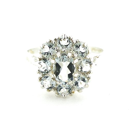 Sterling Silver Ladies Large Aquamarine Cluster Ring - Size P - Finger Sizes L to Z Available