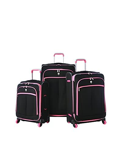Olympia USA Evansville 3-Piece Expandable Hardcase Spinner Set, Pink