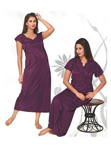 Indiatrendzs Womens Silk Stain 2pc set NigNty Maroon Overcoat freesize