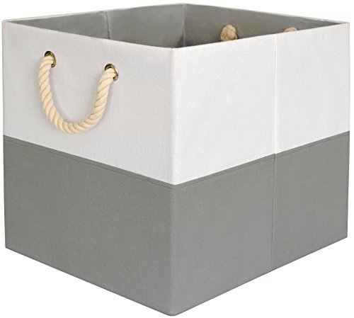 Large Foldable Canvas Storage Box Grey White with Cotton Rope Handles High Quality 13x13 Inch Fits  sc 1 st  Shopswell & Large Foldable Canvas Storage Box Grey White with Cotton Rope ...