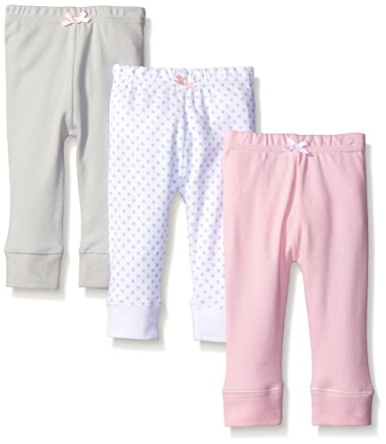 Luvable Friends Baby 3 Pack Tapered Ankle Pant, Pink/Gray, 0-3 Months