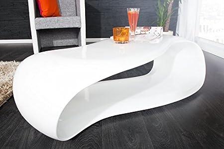 DuNord Design Couchtisch Sofatisch GRAVITY weiss 110cm hochglanz Fiberglas Design Lounge Tisch
