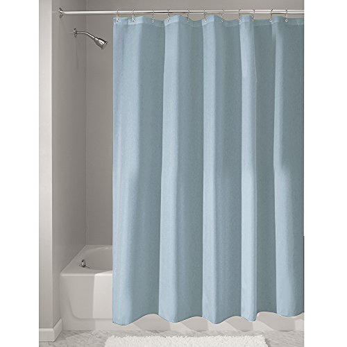 InterDesign Mildew-Free Water-Repellent Fabric Shower Curtain, 72-Inch by 72-Inch, Slate Blue Slate Post Accessories