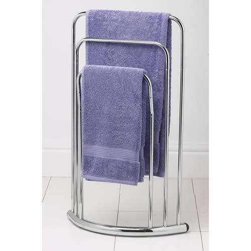 Chrome 3 Tier Bathroom Towel Rail Stand Holder Floor Free Standing Light Weight Ebay