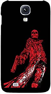 Timpax Hard Back Case Cover Printed Design : A skull and a gun.100% Compatible withSamsung I9500 Galaxy S4