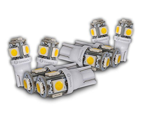 Zone Tech 5-smd Warm White High Power LED Car Lights Bulb - 8 Pieces Premium Quality 5 LED SMD SMT 194 T10 Wedge Base Warm White 12V DC/AC 1407WW (Light Bulb Replacement Car compare prices)