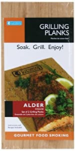 Grilling Planks - Set of 2 Alder Wood Grill Planks with Recipes - Thicker for Longer Use by Cameron Cookware