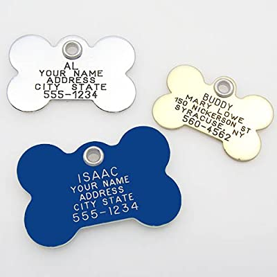 Pet ID Tag - Bone - Custom engraved dog & cat ID tags. Pet safety tag has reflective coating and is available in plastic, stainless steel and brass.