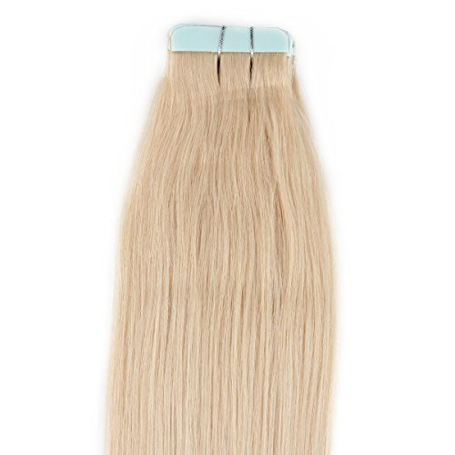 "Beauty7 16"" 18"" 20"" 22"" 24"" 26"" 28"" Tape In Real Human Hair Extensions #60 Platinum Blonde 45-50G 20 Pieces (26"" 50G) front-11386"