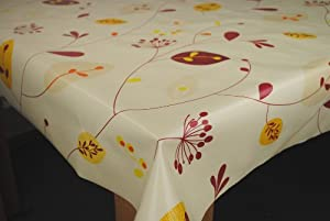 Leaves and Stems SPICE on Natural PVC Vinyl Oilcloth Tablecloth by Karina Home 200 x 137cm
