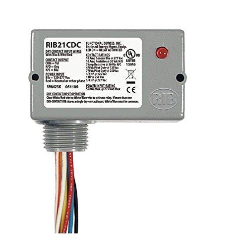 Functional Devices RIB RIB21CDC Enclosed Pre-Wired Relay 120V to 277V