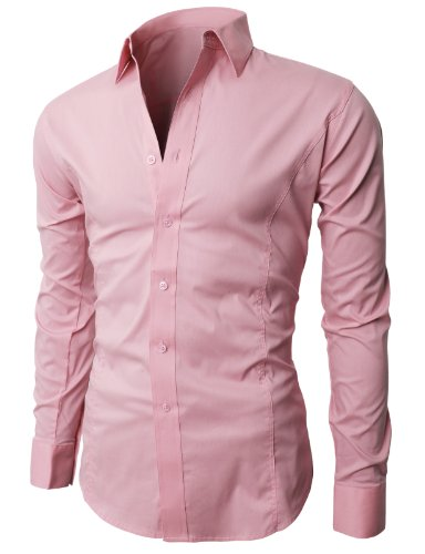 Jualablog h2h mens wrinkle free slim fit dress shirts for Wrinkle free dress shirts amazon