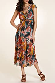 Per Una V-Neck Abstract Print Chiffon Dress [T62-5193G-S]