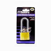 Bulk Buys Iron Padlock W/ Long Shnk
