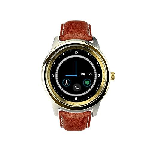 EDEALYN DM365 Bluetooth Smart Watch, Cinturino in pelle, Full HD, schermo IPS Fitness Tracker per IOS, Android, Smartphone, colore: dorato