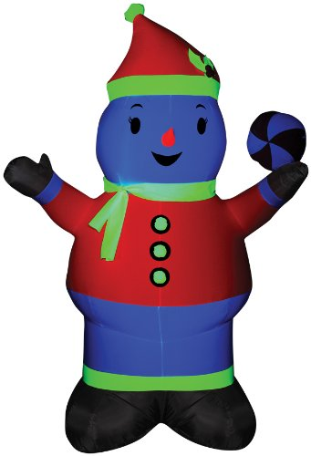 Inflatable Snowman Neon Pink front-959694