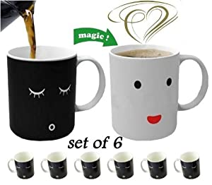 Magic Morning Mug Coffee Tea Milk Hot Cold Heat Sensitive Color-changing Mug Cup Set of 6---delivery in 4-6 Working Days By DHL
