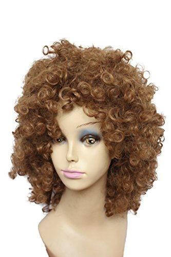 Fluffy Capless Medium Length Small Afro Curly Synthetic Hair Full Party Wig for Black Women