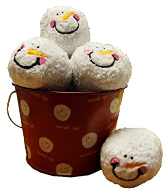 "Snowball Fight! 6 Plush Snowmen Balls and a Red Tin Labeled ""Snowball Fight"" - Indoor Play Ball Toy from Young"