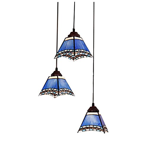Unitary™ Vintage Tiffany Blue Glass Shade Pendant Light Max 180W With 3 Lights Bronze Finish