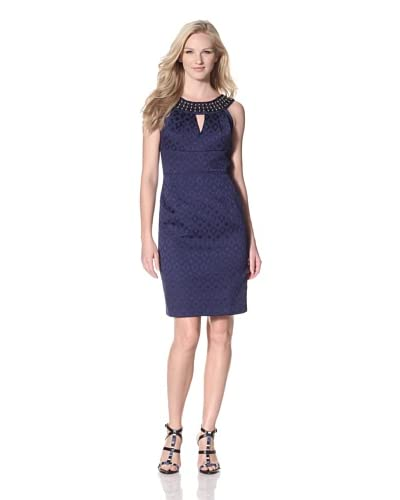 Muse Women's Jacquard Sheath with Embellished Neckline  [Midnight]