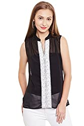 PURYS Black Sleeveless centre lace top - Large