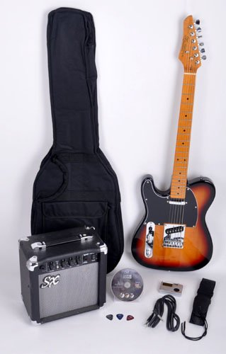 SX Furrian Pack 3TS Left Handed Electric Guitar Package w/Free Padded Carry Bag, Amp, and Instructional DVD