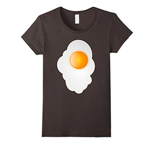 [Women's Fried Egg last minute funny Halloween costume tshirt Large Asphalt] (Easy Halloween Costume To Wear To Work)