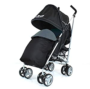 ZETA VOOOM - Black Complete With Raincover And Foot Muff Grey from Baby Travel