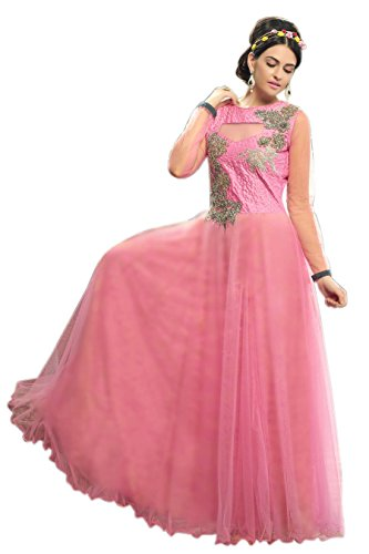 Vibes Womens Net Patch Work Anarkali Unstitched Dress Material (V263-1014 _Pink)