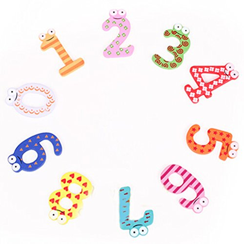 DEHANG Funky Fun Colorful Magnetic Number 0-9 Wooden Fridge Magnets Kid Toys