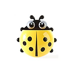 House of Quirk Cute Cartoon Ladybird Toothbrush Holder with Suction Cups( Yellow,Pack of 1)