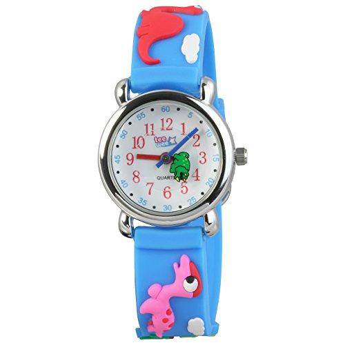 Tee-Wee montre pour enfants - le motif de dinosaures - bracelet en caoutchouc bleu clair avec dessins 3D - montre p�dagogique - UW941H