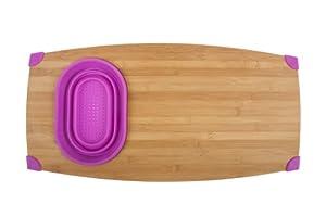 Core Bamboo Corner-Grip Over-the-Sink Cutting Board, Magenta