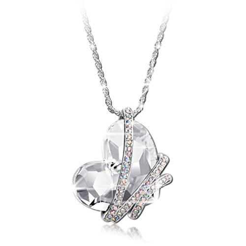 Qianse Engraved Trinity Ring Necklace Swarovski