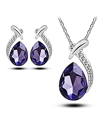 Celebrity Jewelry Water Drop Shaped Glass Crystal Earrings and Necklace Set for Her for Women Gift