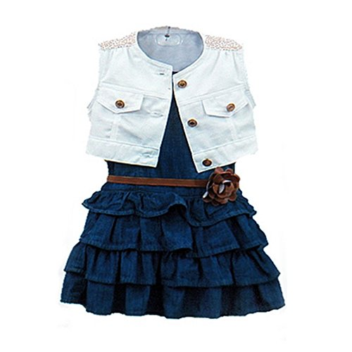 Vogholic Little Girls' Sleeveless Solid Color Coat + A-line Dress Set White&Blue