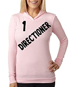Thermal Pink Hoodie Top Shirt Junior Women Small One Direction 1 Directioner Black Lettering